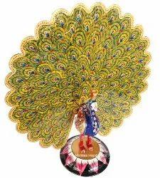 Metal Meenakari Dancing Peacock Statue Enamel Work Figurine