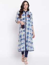 La Firangi Women White Printed Straight Kurta