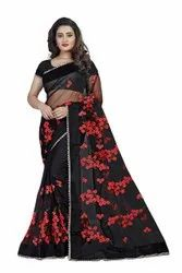 Formal Wear Printed Indian Net Saree, With Blouse Piece, 5.5 M (Separate Blouse Piece)