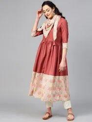 La Firangi Women Rust Brown & Pink Solid A-Line Kurta with Printed Detail