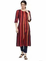 Women Striped Rayon Straight Kurta's(Pink)