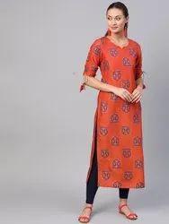 La Firangi Women Rust Orange & Blue Printed Straight Kurta