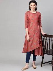 La Firangi Women Rust Red & Blue Printed A-Line Asymmetric Kurta