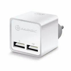 ALOGIC 2 Port White USB Mini Wall Charger - 2.4A   1A - 17W -