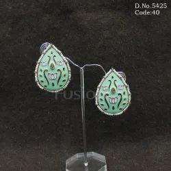 Handmade Meenakari Pearl Beaded Stud Earrings