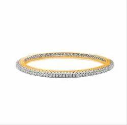 Arihant Creators 3.50Tcw VVS-VS/EF Color Round Shape Diamonds Stud 14Kt Yellow Gold Diamond Bangle
