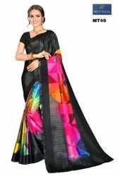 Printed Casual Wear Digital Print Crepe Saree, 6.3 m (with blouse piece)
