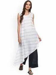La Firangi Women White Striped A-Line Kurta