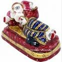 Nirmala Handicrafts Metal Meenakari Sleeping Ganesha Enamel Work Indian God Idol Statue