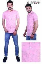 Speak Collar Neck Men Pink Cotton Printed Shirts, Machine wash