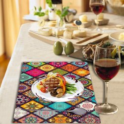 OLD DECOR PVC Printed Placemats for Dining Table