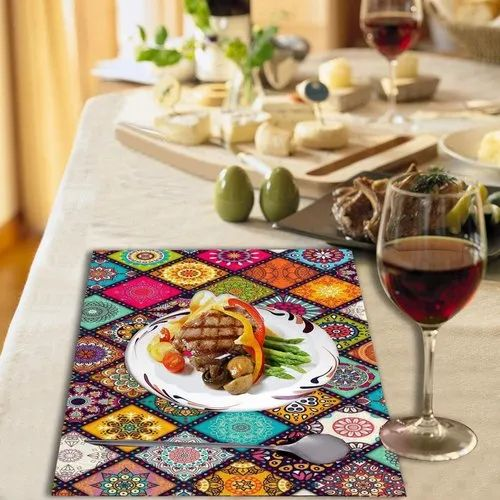 Multicolor Pvd Old Decor Pvc Printed Placemats For Dining Table Size 12 Inch 18 Inch Rs 50 Set Id 22781749655