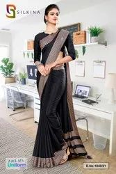 Black Plain Border Premium Polycotton Raw Silk Saree For Jewellery Showroom Uniform Sarees