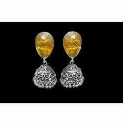 Oxidized Stone Earring