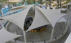 White M.s & Pvc Fabric Shade Sail Tensile Structure, Shape: Tunnel