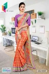 Orange And Purple Premium Italian Slik Crepe Saree