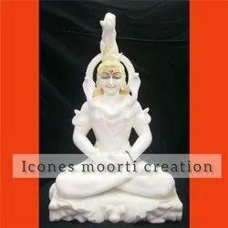 Pure White Marble Shiva Statue
