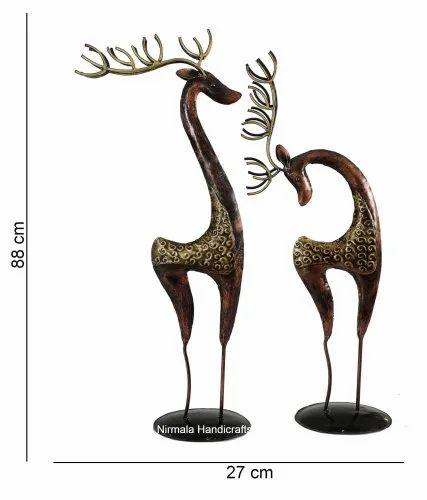 Iron Craft Deer Set Antique Decorative Showpiece
