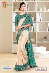 Green and Beige Simmer School uniform Sarees