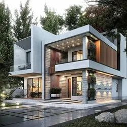 Modern Style Duplex Construction With Interior And Landscaping