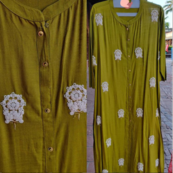 Casual Wear Straight Ladies Cotton Embroidery Kurti With Thread Motif Work, Size: 2XL