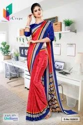 Tomato Ink Blue Premium Italian Silk Crepe Saree For Staff Uniform Sarees