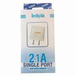 Techyon White 2.1AMP Single Port Fast Charger