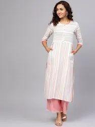 La Firangi Women White & Blue Striped Straight Kurta