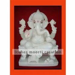 Sitting White Marble Ganesh Statue