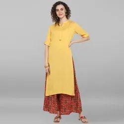 Janasya Women's Yellow Rayon Kurta With Palazzo (J0020)
