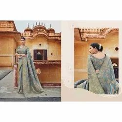 Embroidered Ladies Party Wear Grey Weaved Silk Saree, With blouse piece, 6.3 m
