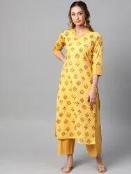 La Firangi Women Yellow & Maroon Printed Kurta With Palazzos