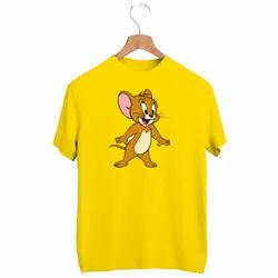 DFNK Mens Yellow Printed Sublimation Polyester T Shirt, Size: M-XXL