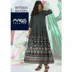 Rayon Anarkali MAXUS Designer Ladies Long Suit, Machine wash