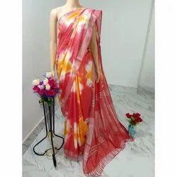 Party Wear Ladies Cotton Slub Sivori Printed Saree, 6.3 m (with blouse piece)