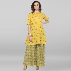 Janasya Women's Yellow Pure Cotton Kurti With Palazzo(J0039)