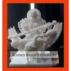 Marble Saraswati Veena Statue