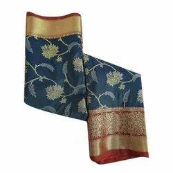 Hamida Fabric Festive Wear Banarsi Semi Katan Silk Saree, 6.3 m (with blouse piece)