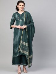 La Firangi Women Green & Silver Striped Kurta With Palazzos & Dupatta