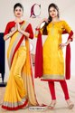 Yellow Red Plain Border Premium Polycotton Cotfeel Saree For Student Uniform Sarees