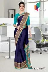 Sea Green Blue Paisley Print Premium Italian Silk Crepe Uniform Sarees For Office Wear