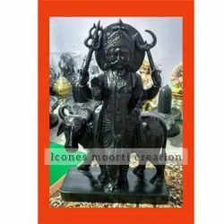 Black Painted Marble Shani Dev Statue