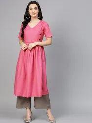 La Firangi Women Pink & Taupe Solid Kurta with Palazzos