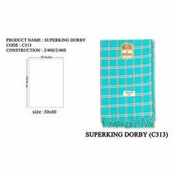 Superking Dorby Cotton Check Towel, 140 GSM, Size: 30x60 Inches
