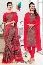Brown Red Small Print Premium Italian Silk Crepe Saree For Office Uniform Sarees