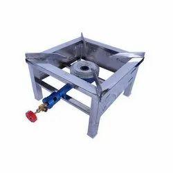 1 Burners Stainless Steel Single Burner Gas Stove, Size: 1x1 Feet