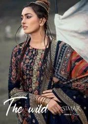 Glossy Simar The Wild Dola Jaquard Digital Print With Neck Embroidery Work Suits Catalog