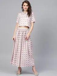 La Firangi Women Grey & Pink Printed Top with Skirt