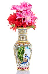 Marble Flower Vase Peacock Design Decorative Showpiece