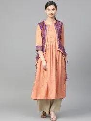 La Firangi Women Peach-Coloured & Purple Checked Anarkali Kurta with Ethnic Jacket